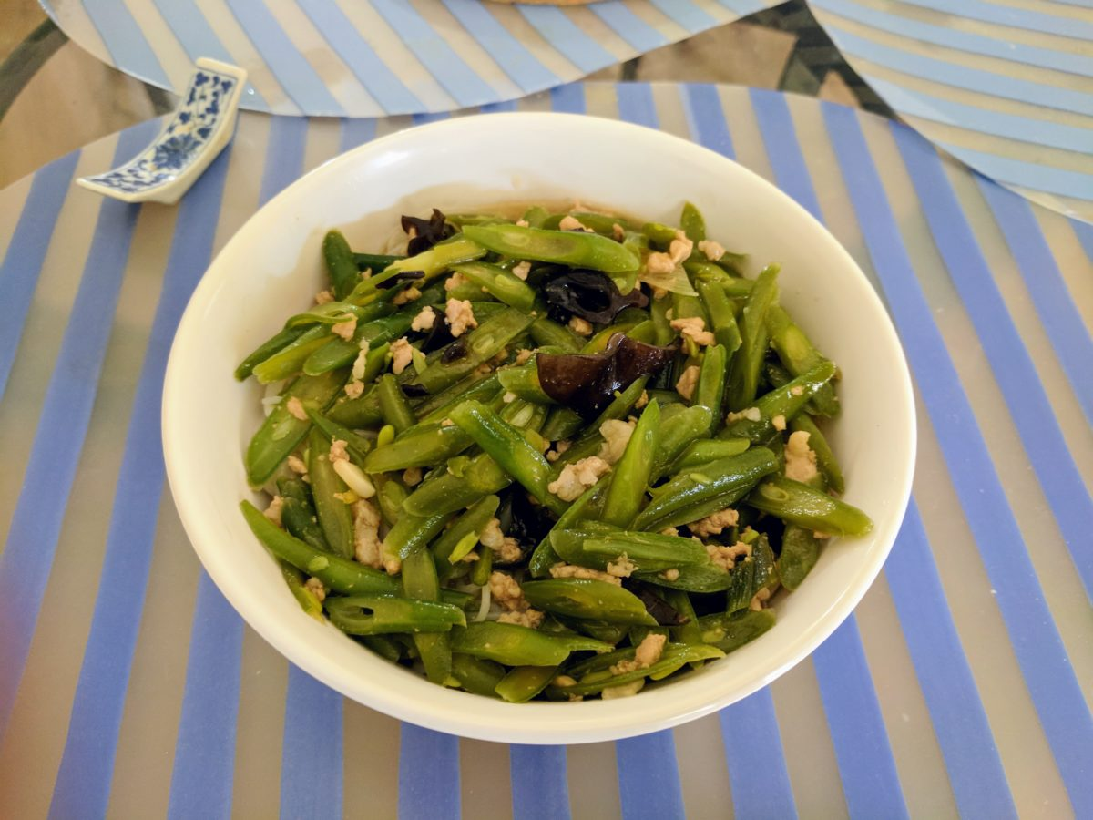 Recipes: Papa Liu's Green bean/pork over noodles